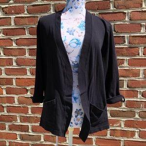 Studio works black open front cardigan 3/4 sleeves